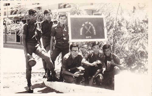 The writer (left) with recruits from the civil service, including the PSA and HDB, at the School of Manpower Management in 1971. A few of them went through OCT to become regular officers.