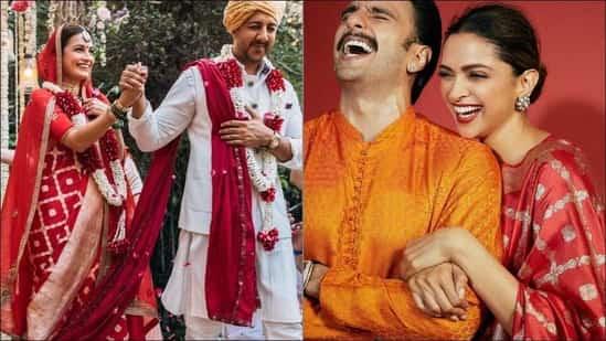 Dia Mirza's Banarasi red bridal saree same as Deepika ...