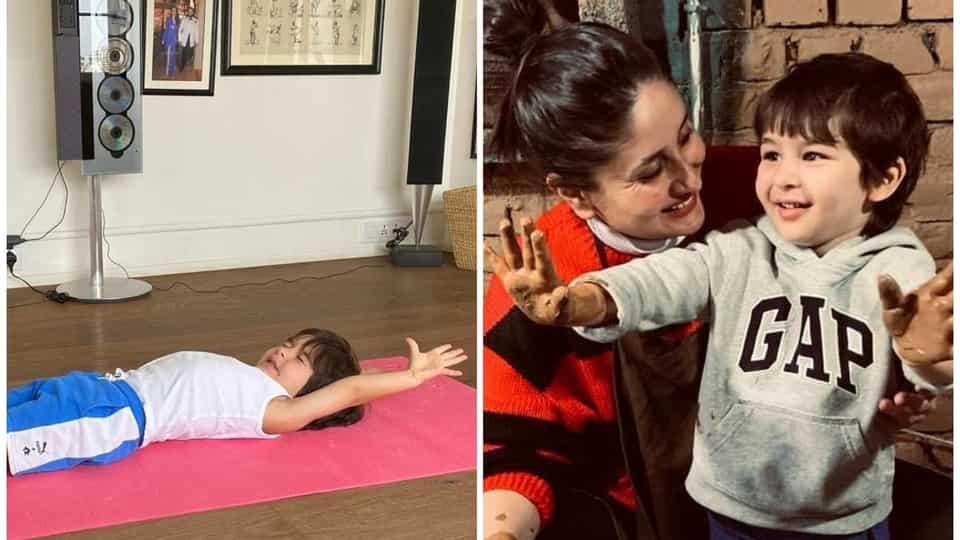 kareena-kapoor-shares-photo-of-taimur-stretching-on-a-yoga-mat-with-funny-caption,-fan-calls-him-'upcoming-indian-yogi'